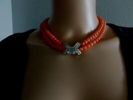 Vintage 1950s 1960s Faux Coral Necklace Made with Swarovski Crystal - $25.00
