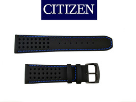 Citizen CA0467-03E ECO-DRIVE BLACK watch band 23mm STRAP Blue stitches   - $75.95