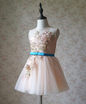 Blush Pink A-Line/Princess Knee-length Flower Girl Dress - Lace Sleeveless Scoop image 2