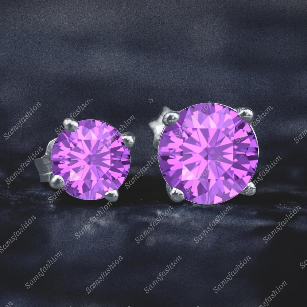 Solitre Round Amethyst Fashion Stad Earring 14k White GP 925 Stering Silver Wome