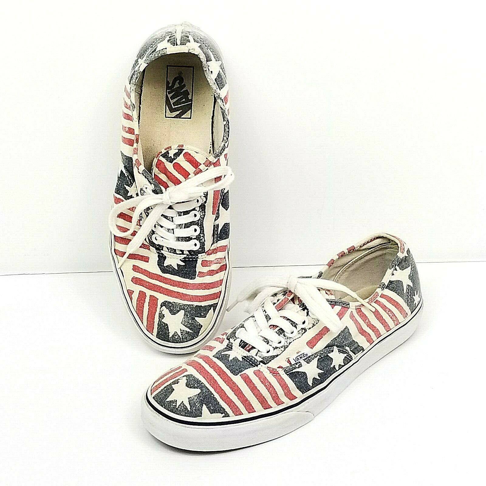 Vans Van Doren Stars Stripes American Flag Shoes Mens Size 10.5 Womens Sz 12 Vtg