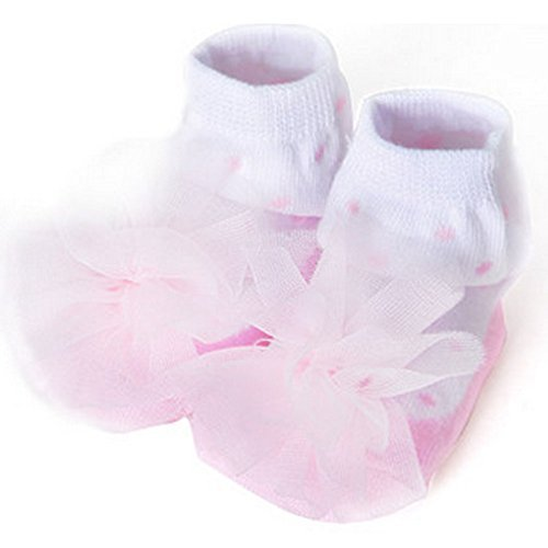 Baby Socks Lovely Cotton Summer Infant Socks 0-12 Months(White with Pink Flower)