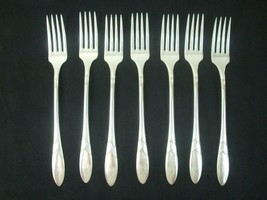 7 Oneida Community Antique Silver Plate Dinner Forks Flatware Monogram 7... - $69.85