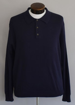 Vintage 90s Navy Blue ohnny Collar Wool Sweater Size Large to XL - $49.99