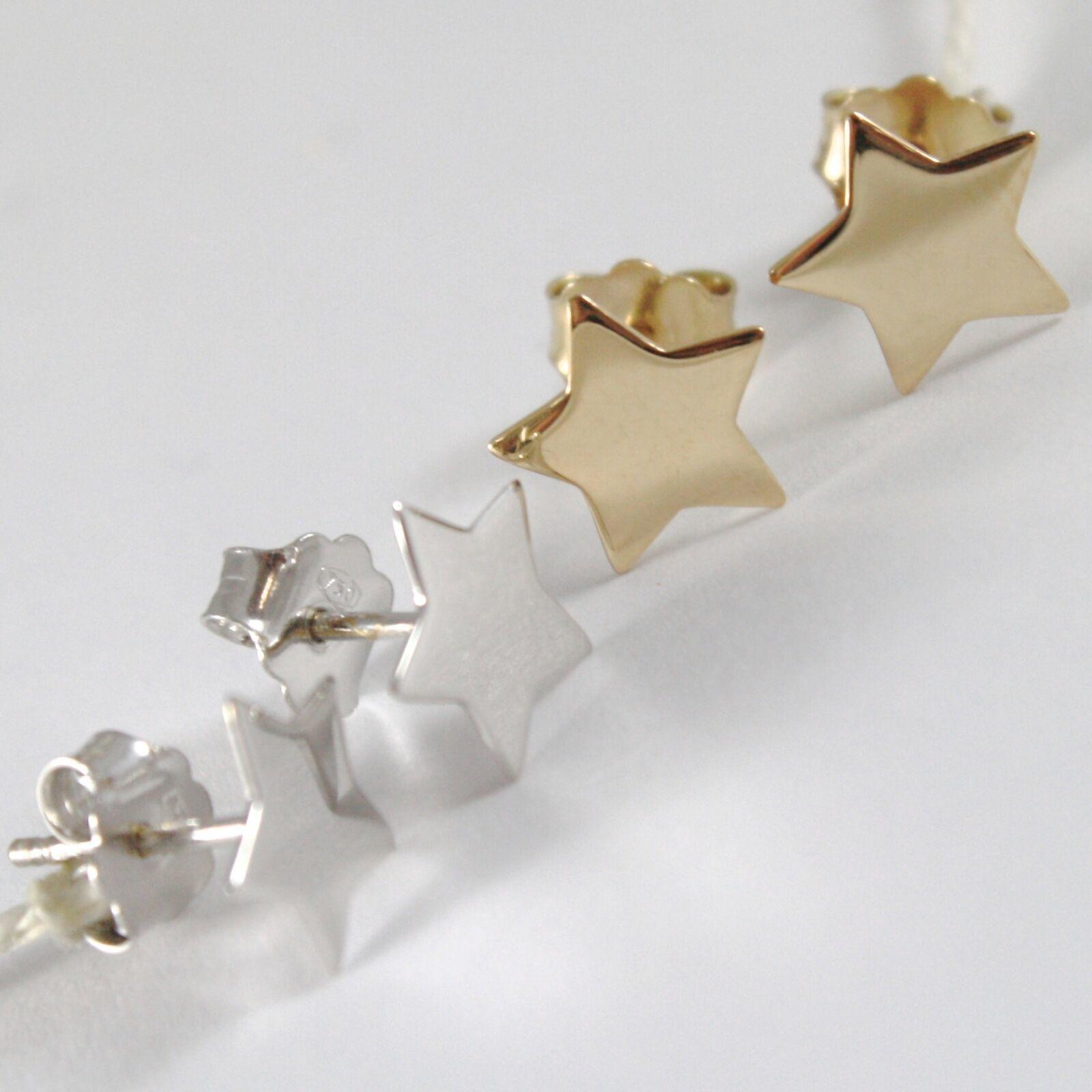 Earrings Gold Yellow or White 750 18k, Stella, Flat Stars, Length 0.9 cm