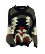 VTG 80s Sz XL Acrylic Pullover Baggy Geometric Aztec Cosby Color Block S... - $19.79
