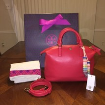 NWT TORY BURCH MULTI-COLOR SMALL SLOUCHY SATCHEL VERMILION - $364.64