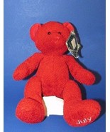 Russ Berrie Plush beanbag teddy bear Red July Ruby Bears of the Month Am... - $9.99