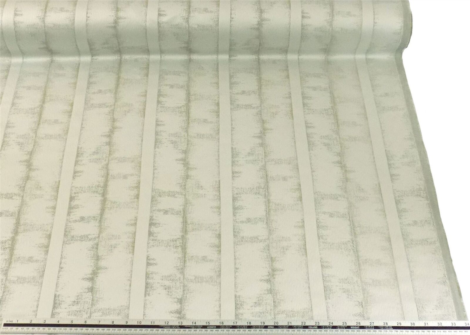 Slub Effect Silver Cream Embroidered Striped Fabric Material 2 Sizes