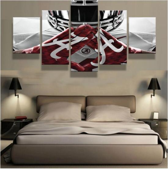 5pcs alabama gloves football painting printed canvas wall for Alabama football wall mural
