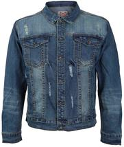 CS Men's Classic Distressed Ripped Destroyed Stretch Denim Jean Jacket image 5