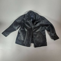 Vintage The Gap Kids Unisex Black Leather Coat Jacket Size Small/Petite ... - $95.79