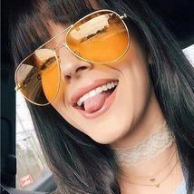 MIZHO Cheap Brown Lens Unisex Metal Yellow Sunglasses Women Pilot Mirror... - $29.90