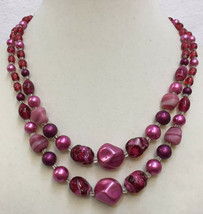 """Necklace Multi Strand Pink Plastic 17"""" Vintage Japan Double 2 String Beaded - $14.10"""