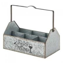 WINE BOTTLE HOLDER Galvanized Metal Caddy - $29.95