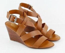 Womens Franco Sarto Yara Slingback Wedge Sandals - Brown Leather, Size 11 M US - $84.99