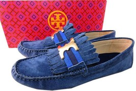 Tory Burch Blue Fringe GEMINI Driving Loafers Flats  Moccasins Ballet Sh... - $139.00