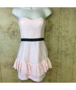 NEW BCBG Generation Dress Powder Pink Sz 0 Strapless Party $128 Ruffles ... - $25.25
