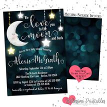 to the moon and back Baby Shower Invitation PRINTABLE Personalized - £9.07 GBP