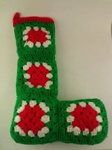 Christmas Stocking Red Green White Knitted 18-Inches Length - $29.09
