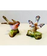 Vintage Crown Staffordshire J.T. Jones Chaffinch & Robin Porcelain Birds... - $58.86