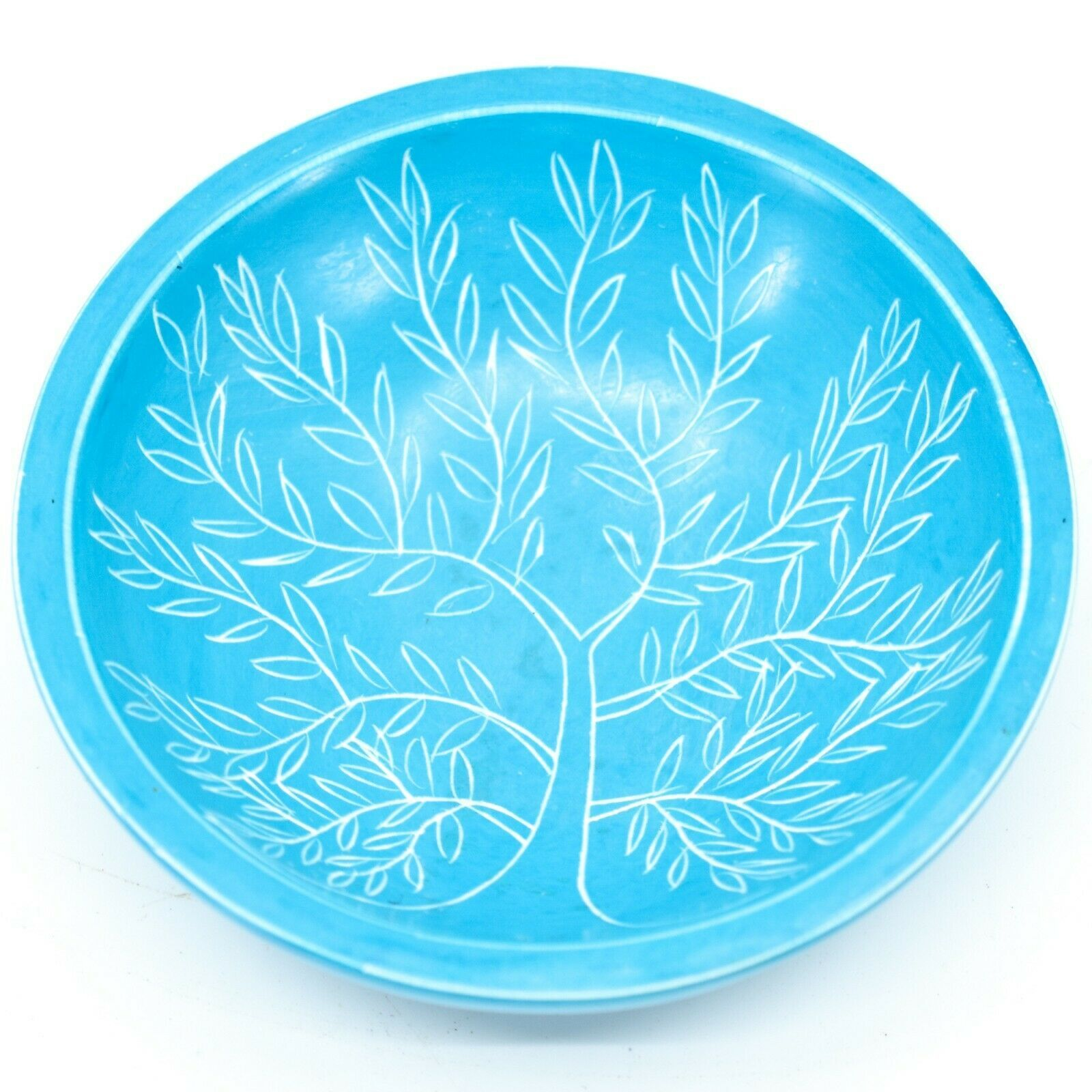 Tabaka Chigware Hand Carved Kisii Soapstone Blue Tree of Life Trinket Bowl Kenya