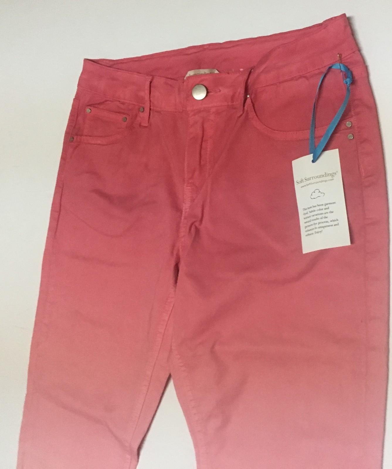 Soft Surroundings Pink Fade Jeans NWT Sz XS Zipper Legs