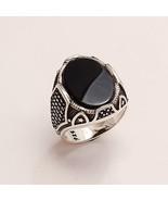 Real Yemeni Aqeeq Onyx Ring 925 Sterling Silver New Year Istanbul Men's ... - $24.83