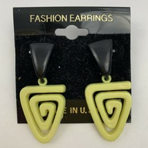 Vintage 80s Yellow Black Swirl Pierced Dangle Earrings New Wave NOS Funk... - $11.84