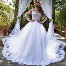 New Stunning Amazing Train Long Sleeve Lace Appliques Satin Wedding Bridal Gown