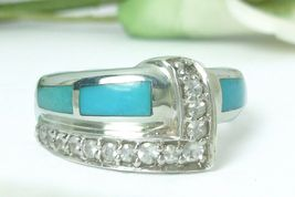 Sterling Turquoise Stone Inlay and White Topaz Band Ring - $75.00