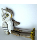 "Owl Carved Wood Shelf Sitter Figure 22"" Tall all original paint - $72.95"