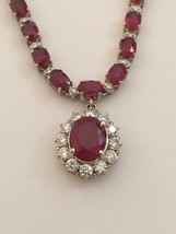"Solid 14K White Gold Genuine 32ct tw Ruby & 2.50 ct Diamond Pendant Necklace 16"" - $15,649.00"