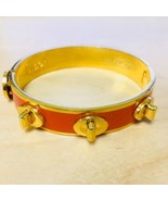 NWT COACH Popular Cute Half Inch TurnLock Bangle Bracelet Orange Gold Shiny - $41.58
