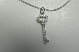 Tiffany & Co Platinum Diamond Encrusted Oval Key Pendant Necklace Suede Box - $1,745.99