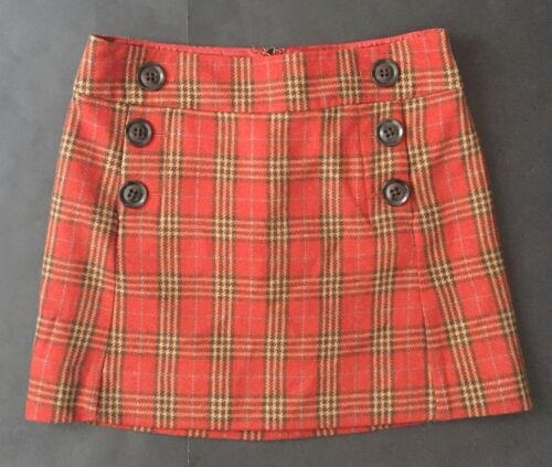 Gap Plaid Mini Skirt Size 0 Sailor Buttons Red Yellow Wool Lined Retro Mod