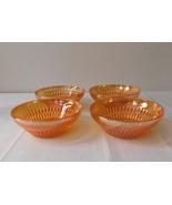 Jeannette Glass Anniversary Pattern Iridescent Marigold Carnival 4 Bowls 4 7/8 - $14.99
