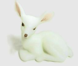 "Fenton Milk White Lying Deer Figurine Hand-Blown Artist Signed 3.5"" Long - $44.95"