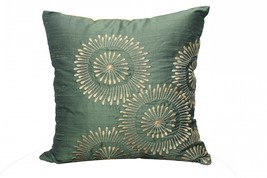 Gold Aari Embroidered Green Cushion Cover pillow case - $24.00
