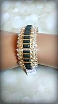 Lia Sophia MODELINA stretch bracelet w cut crystals & dark gray stones RV $158 - $55.00