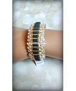 Lia Sophia MODELINA stretch bracelet w cut crystals & dark gray stones R... - $54.45