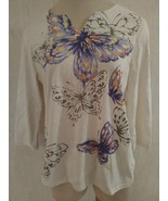 Alfred Dunner Petites Size PS Embellished Butterfly Print 3/4 sleeve Top shirt - $12.84