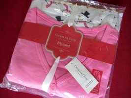 Charter Club Womens Flannel Pajama Set MEDIUM Snowman w/ Pink Top Sleepwear NEW - $14.36