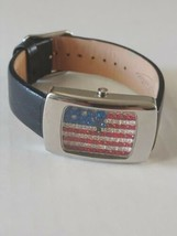Fossil Watch Crystal USA Flag Watch Leather band - $89.05