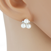 United Elegance Silver Tone Faux Pearl Earrings with Swarovski Style Crystals - $15.99