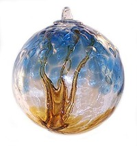 "6"" European Art Glass Spirit Tree Embossed Leaf ""ERIE SHORE"" Witch Ball ... - $41.23"