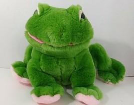 Vintage Fiesta plush green pink feet frog sitting white eyelids - $8.90