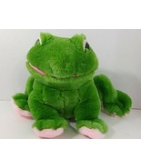 Vintage Fiesta plush green pink feet frog sitting white eyelids - $8.90
