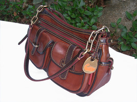 Dooney & Bourke Saddle Tan Brown Red Leather Pocket Hobo Brass Duck Charm DS455 image 3