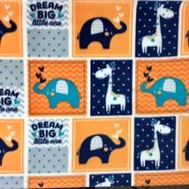 Magic Moon Fleece Fabric Elephant Giraffe Orange Blue Gray White by Joann  - $4.75
